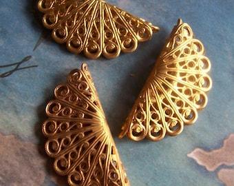 1 PC Raw Brass Victorian Filigree Bead - G0157