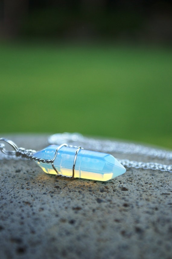 Rainbow Crystal Necklace, Opalite Moonstone Crystal, Wire Wrapped Crystal Point, Long Layering Crystal, Mens Leather Option, Choker Option