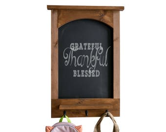 Chalkboard with Arched Top, Shelf, and Hooks