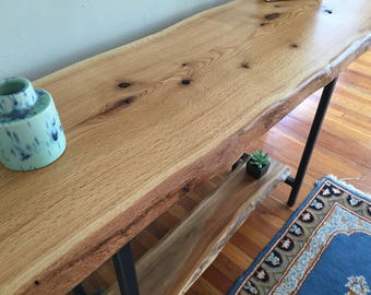 Live Edge Entryway Table / Rustic Console Table / Sofa Table /  Mid Century Modern / Industrial Red Oak Wood Slab