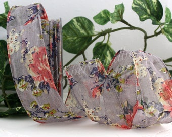 """Wired Gray Floral Ribbon, Wired Ribbon, 1.5"""" wide by the yard, Floral Ribbon, Wedding, Gift Wrapping, Wreaths, Bouquets, Party Supplies"""