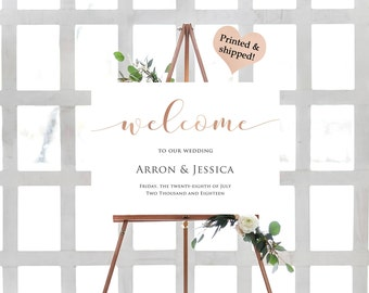 Rose Gold Foil Wedding Welcome Sign- Custom Wedding Welcome Sign- Welcome To Our Beginning Sign- Large Wedding Sign- Rustic Wedding Sign-