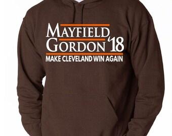 "BROWN Cleveland ""Mayfield 18""   HOODED SWEATSHIRT"