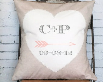 Wedding Gift Personalized Cotton Anniversary Gift White Heart pillow cover