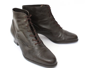 EU 39.5  / 40 - Brown leather vintage ankle boots GABOR lady size uk 6.5 / US 8.5 or 9 - 1980s laced granny booties women 90s vintage shoes