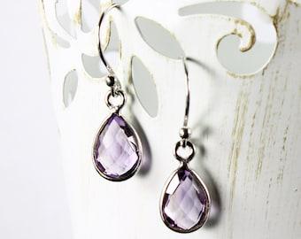 Amethyst earrings, Sterling Silver dangle earrings, purple gemstone earrings, fine, delicate, February birthstone, gift for her, ER2627