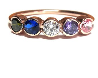Birthstone Mothers Ring-Channel Birthstone Ring-Mothers Ring-Family Ring-925K Silver Zirconia Birthstone Ring