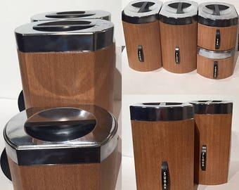 Vintage Kromex Kitchen Canister Set, Set of 4 Faux Wood Canisters, Chrome Canister Set, Coffee Canister, Flour Canister, Tea Canister