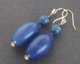 Tagua and lapis lazuli earrings