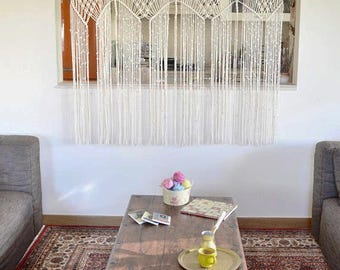 Macrame curtain / room divider / wall hanging with natural cotton twine. Ethnic, 70s, vintage, unique, fringes, boho