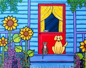 Tabby Cat, Golden Dog, Blue Cottage Porch Sunflowers Shelagh Duffett Print