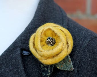 Wool Flower Brooch Yellow and gold Rose Flower Pin