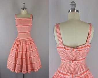 1950s Vintage Sundress / 50s Orange Gingham Dress with Back Bows / Creamsicle Delight Dress