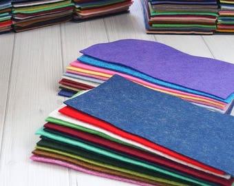 Felt Remnants Grab Bag, Felt Scraps, Rectangles, Wool Blend Felt, 24 pieces