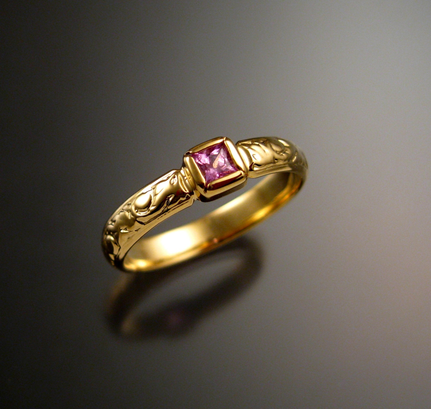 Pink Sapphire Wedding Ring 14k Yellow Gold Victorian Bezel Set Natural Princess Cut Diamond Substitute Made To Order In Your Size