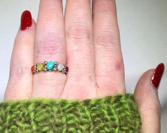 Vintage, Multi Gemstone Ring, Sterling Silver, Coral, Mother of Pearl, Turquoise, Charoite, Size 7