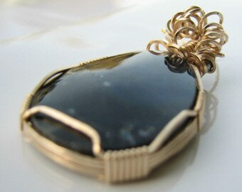 SPECIAL PIECE and Price of Labradorite Flash with 14kt gold filled wire wrapped pendant