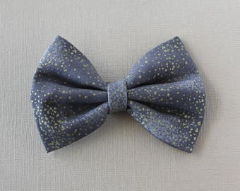Metallic Gold on Gray Hairbow -  Hair Bows for Girls, Women's Hair Bows, Gifts for Girls, Tween Hair Bows