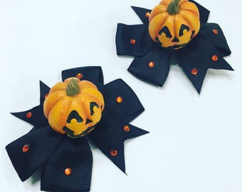 Jack o' Lantern Pumpkin Halloween Hair Bow Accessory
