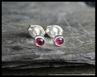 January birthstone earrings - Natural pink garnet gemstone cabochon, 3 mm,  sterling silver bezel, second earrings, 140