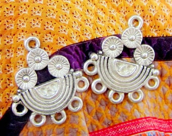 6 silver earring components ethnic chandelier metal jewelry supply earring components 21.5mm x 18mm HP0681Y(G2),
