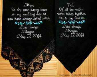 Wedding Gift Embroidered Wedding Hankerchiefs Black Lace Personalized Wedding Gift Parents of the Bride Wedding Gifts by Canyon Embroidery