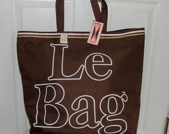 Vintage 1970's Le Bag Large Brown Canvas Tote Bag NWT