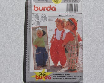 Burda 3292 - Baby Overalls and Pants - Contrast Fabrics and Trims - Includes Sizes 3M-6M-9M-12M-18M-2 - Uncut, Factory Folded