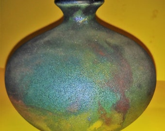 Stephen Roy Raku Pottery Irresdescent signed S.Roy Ceramic