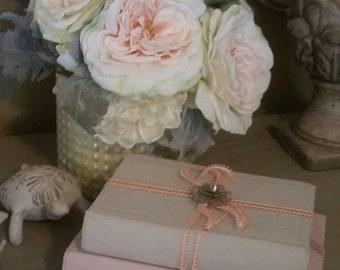 Antique decorative books set, Grey pink