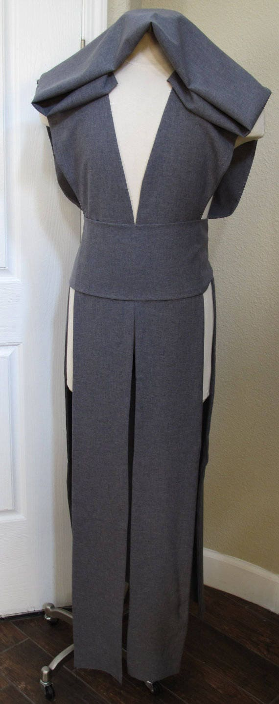 Gray sleeveless hooded floor length tabard vest with a sash in several sizes