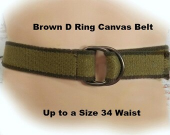 Brown Cotton Canvas Belt - Woven Canvas belt -Vegan Friendly belt -Brown Hipster Waist Belt, small waisted belt -size up to 34 inch ,# B 6