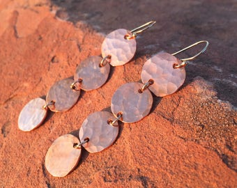 Long Copper Disc Dangles | Hammered Copper | 14k Gold-Fill | Solid Copper | Gifts for Her | Anniversay Gift