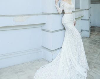 ZenBridal | Modern Two-piece form-fitting Lace Wedding Dress with Chapel Train