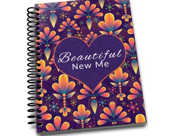 Beautiful New Me | Daily Food & Exercise Journal | 90 Days Meal and Activity Tracker | Become Beautiful | 6 x 9 | Food Journal | Orange Icon