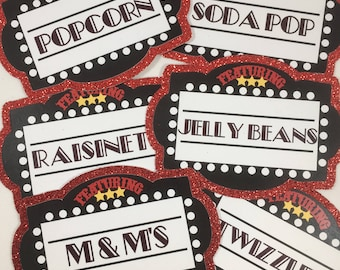 Movie Night Party Label Cards - Set of 6 | Food Labels | Candy Buffet Labels | Food Tags | Place Cards