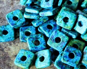 8mm Mykonos Square Washer Beads - Jewelry Making Supplies - Greek Ceramic Beads - Blue, Aqua and Green Mix - Choose Amount