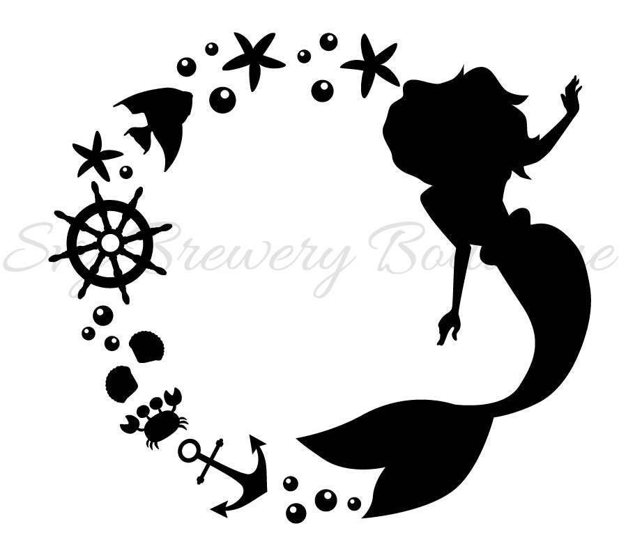 Mermaid Monogram Frame Svg Layered Png Dxf Format
