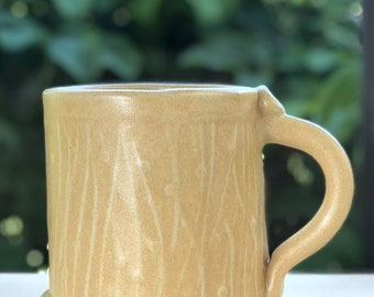 Peach color Stoneware Mug with Impressed Pattern of Dots and lines and Copper Oxide wash - 10 ounce