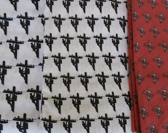 1/2 Yard or More! Lineman Fabric Material - Choice of three patterns