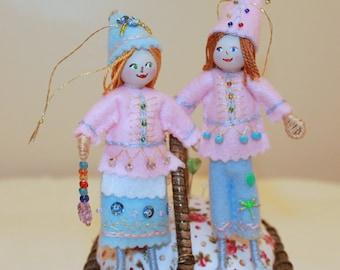 Handmade felt elf, Hanging Ornament, Spring Colors Felt Art Doll
