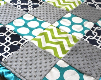 Lime Navy Teal Geometric Blanket