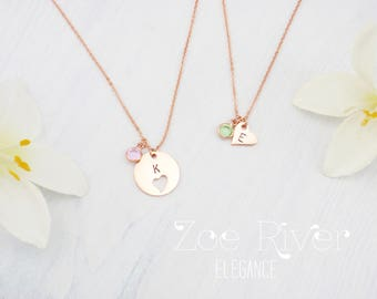 Personalized mother daughter birthstone necklaces, choose rose gold, silver or gold. Dainty mother daughter heart necklaces.