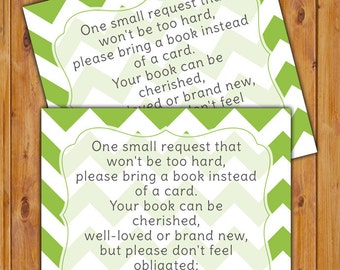 In Lieu of card, Book Baby Shower Invitation Inserts Instead of a Card Lime White Chevron Printable PDF--Instant Download
