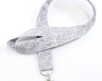Gray Lanyard, ID Badge Holder, Custom Length, Grey Fabric ID Holder, Long Badge Holder Lanyard, Co-worker Gift,Gift Under 10
