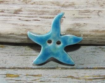 Bouton étoile de mer céramique artisanale pour création, bijou, tricot, crochet, couture, bleu ciel