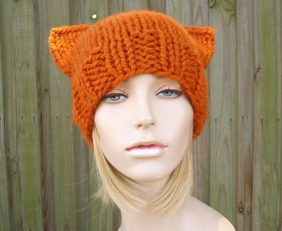 Orange Cat Beanie Orange Knit Hat Womens Hat Pumpkin Orange Hat With Ears Orange Beanie Orange Cat Hat Womens Accessories