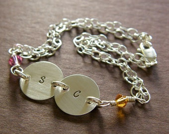 """Personalized Initial Bracelet - Custom Sterling Silver Hand Stamped Charm Jewelry - 1/2"""" with Optional Birthstone in Double Strand"""
