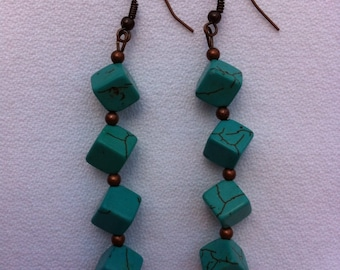 Turquoise Square Beads, Set Diagonally, Trimmed with  Copper Beads and Copper Ear Wires