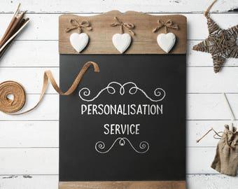 Personalisation, custom, service, extra,